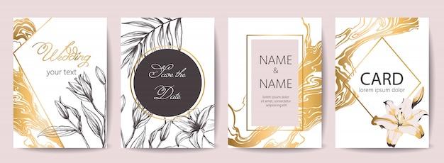 Zestaw kart uroczystości ślubnych z miejscem na tekst. zapisz datę. dekoracja tropikalnych kwiatów. kolory złoty, biały i czarny