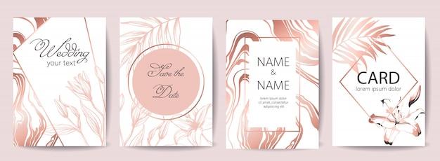 Zestaw kart uroczystości ślubnych z miejscem na tekst. zapisz datę. tropikalne kwiaty. kolory biały i różowego złota