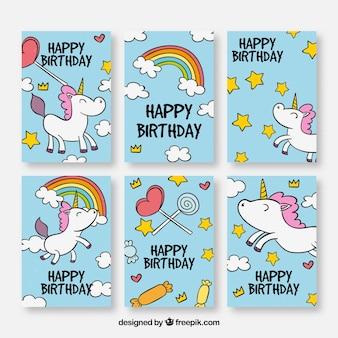 Zestaw kart urodzinowych z ręcznie narysowanych jednorożców