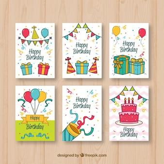 Zestaw kart urodzinowych z rysunkami