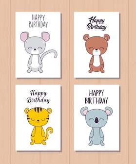 Zestaw kart urodzinowych z uroczych zwierzątek