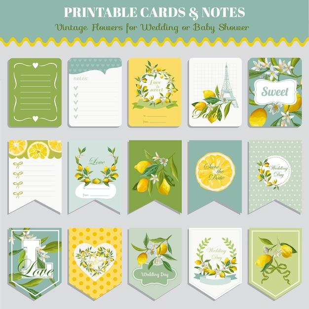 Zestaw kart vintage kwiaty cytryny