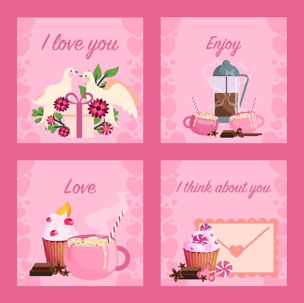 Zestaw kart walentynki. słodka uroczystość i romantyczna randka. idea związku i miłości. wiadomość dotycząca karty walentynkowej.