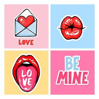 Zestaw kart walentynkowych. miłość ręcznie rysowane kolorowe modne ilustracja. romantyczny z kopertą, seksowny pocałunek w usta, napis be my, wystający język.