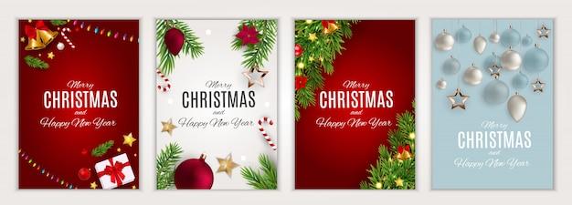 Zestaw kart wesołych świąt i szczęśliwego nowego roku