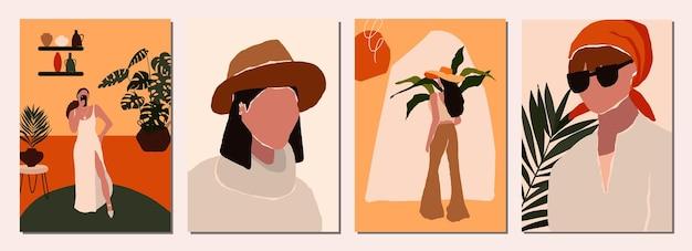 Zestaw kart z abstrakcyjnymi nowoczesnymi postaciami kobiecymi