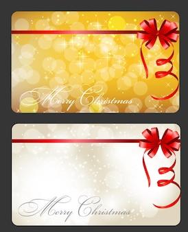 Zestaw kart z bombkami, gwiazdami i płatkami śniegu, ilustracja.