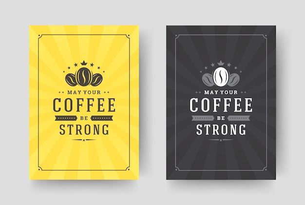 Zestaw kart z cytatem kawy