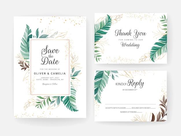 Zestaw kart z dekoracją kwiatową. zaproszenia ślubne zieleni projekt szablonu tropikalnych liści z brokatem