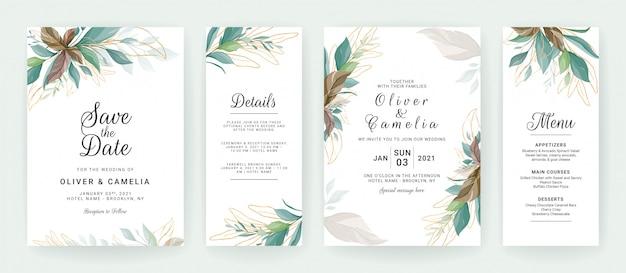 Zestaw kart z dekoracją zieleni. zaproszenie na ślub kwiatowy szablon tropikalny i brokat liści