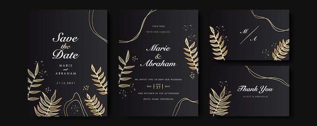 Zestaw kart z dekoracjami kwiatowymi linii sztuki. zaproszenie na ślub szablon projektu luksusowych złotych liści tropikalnych i czarnym tle. ilustracja botaniczna do zapisania daty, wydarzenia, okładki, wektora