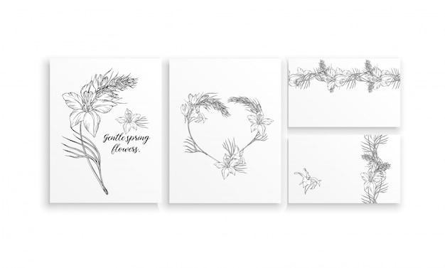Zestaw kart z delikatnymi wiosennymi kwiatami