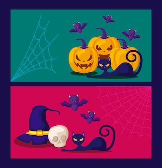 Zestaw kart z dyni i ikony halloween