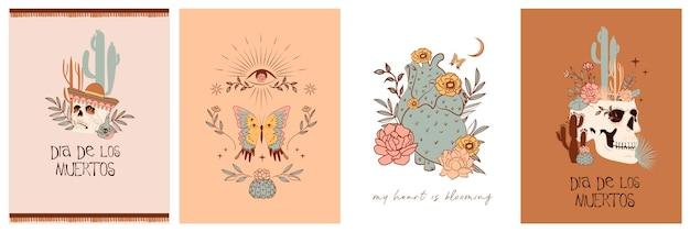 """Zestaw kart z elementami mistycznymi i meksykańskimi. meksykańskie święto """"dzień zmarłych"""" lub """"dia de los muertos"""". czaszka, kaktus, elementy kwiatowe i mistyczne. edytowalne"""
