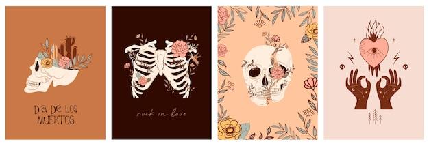 """Zestaw kart z elementami mistycznymi i meksykańskimi. meksykańskie święto """"dzień zmarłych"""" lub """"dia de los muertos"""". czaszka, kaktus, elementy kwiatowe i mistyczne."""