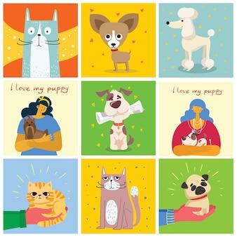Zestaw kart z kotami i psami w stylu płaski