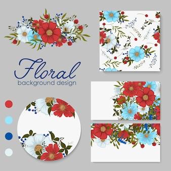 Zestaw kart z kwiatami, liśćmi. ozdoba ślubna. kwiatowe zaproszenie, plakat, zaproś.