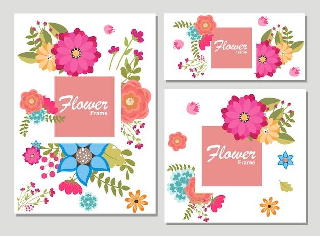 Zestaw kart z kwiatem róży, liśćmi. koncepcja ozdoba ślubna. plakat kwiatowy, zapraszam. wektor ozdobny kartkę z życzeniami lub zaproszenie wzór tła