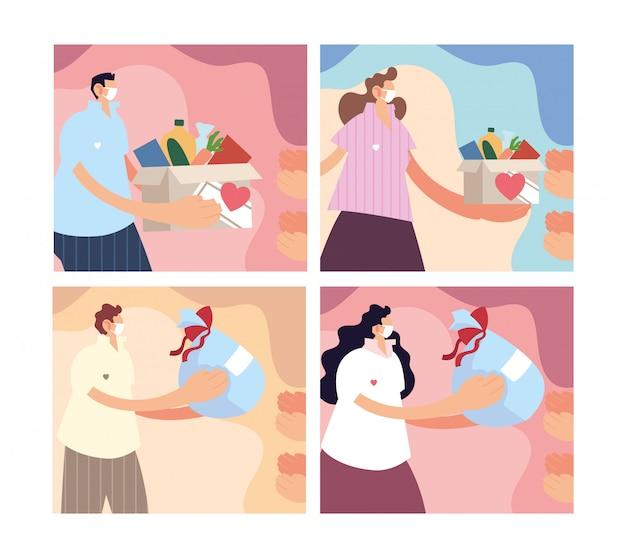 Zestaw kart z ludźmi daje darowiznę na cele charytatywne