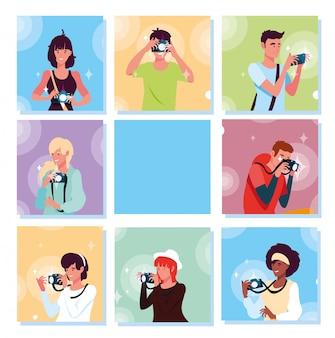 Zestaw kart z ludźmi robiącymi zdjęcia