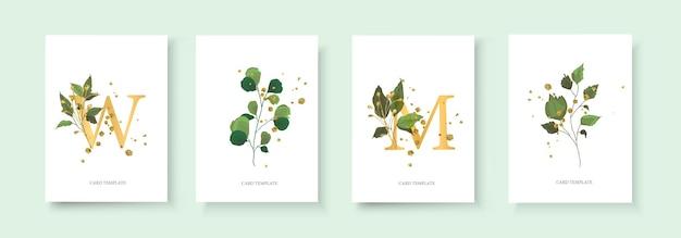 Zestaw kart z monogramami i liśćmi