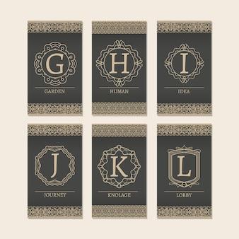 Zestaw kart z monogramem liter gl