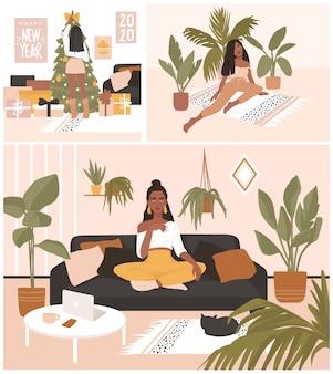 Zestaw kart z pięknymi dziewczynami siedzącymi i odpoczywającymi na kanapie, dekorującymi choinkę.