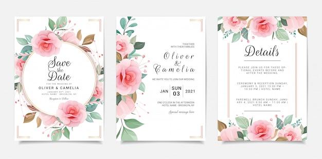 Zestaw kart z ramą kwiatowy. szablon zaproszenia ślubne zestaw z dekoracją kwiatów