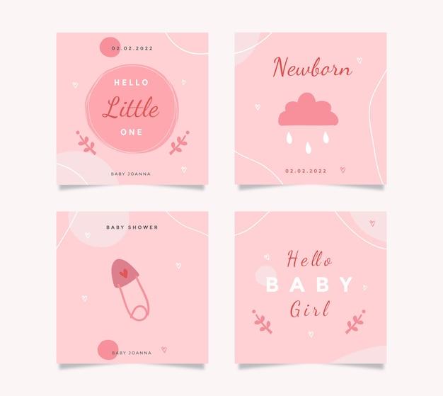 Zestaw kart z uroczą ilustracją motywu baby shower do tworzenia dzienników, naklejek i notatników.