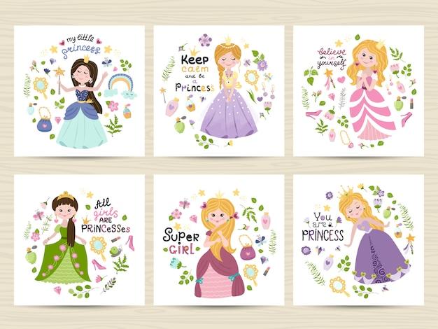 Zestaw kart z uroczymi księżniczkami