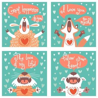 Zestaw kart z zabawnymi zwierzętami.