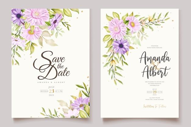 Zestaw kart z zaproszeniem do akwareli chryzantemy