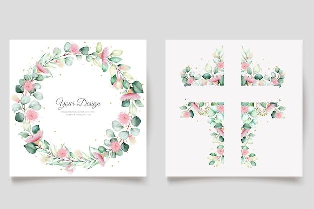 Zestaw kart z zaproszeniem na ślub z kwiatami eukaliptusa