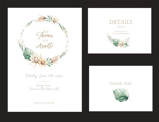 Zestaw kart z zaproszeniem z akwarela kwiaty