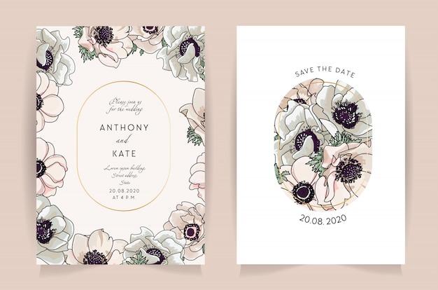 Zestaw kart z zawilec kwiatowy. koncepcja ozdoba ślubna