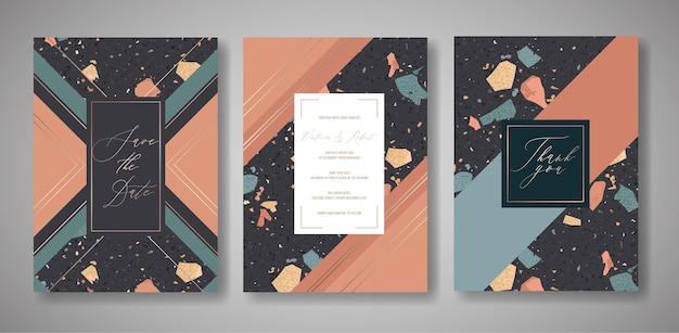 Zestaw kart zaproszenia ślubne lastryko. luksusowy geometryczny streszczenie szablon na pozdrowienia, baner, plakat z teksturą marmuru. zapisz datę, rsvp. ilustracja wektorowa