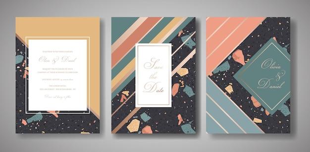 Zestaw kart zaproszenia ślubne lastryko. luksusowy geometryczny streszczenie vintage design szablon na pozdrowienia, baner, plakat z teksturą marmuru. zapisz datę, rsvp. ilustracja wektorowa