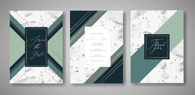 Zestaw kart zaproszenia ślubne lastryko. luksusowy szablon geometryczny wzór na pozdrowienia, baner, plakat z teksturą marmuru. zapisz datę, rsvp. ilustracja wektorowa