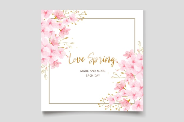 Zestaw kart zaproszenie akwarela kwiat wiśni