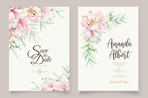 Zestaw kart zaproszenie akwarela lilia