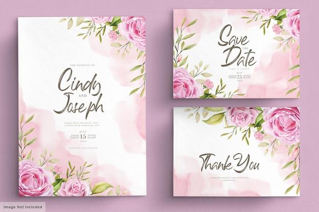 Zestaw kart zaproszenie akwarela różowe róże