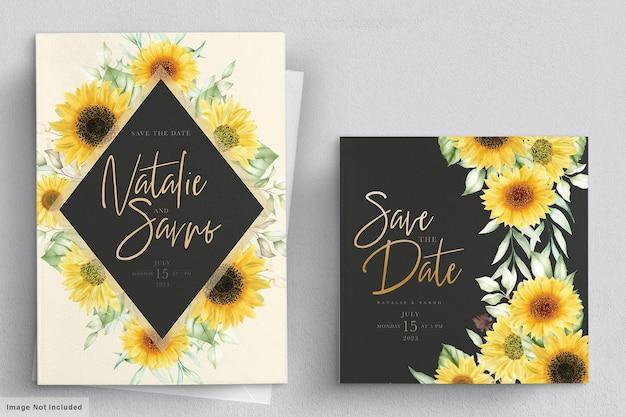 Zestaw kart zaproszenie akwarela słonecznika
