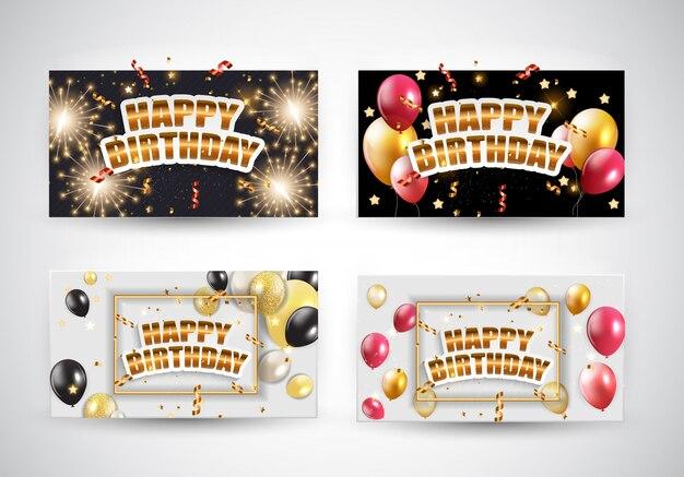 Zestaw kart zaproszenie błyszczący balony urodziny
