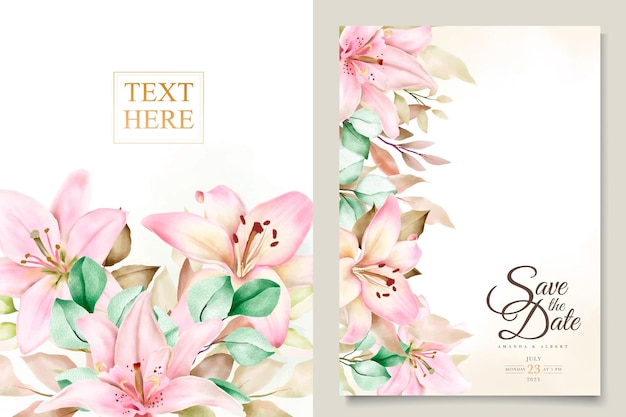 Zestaw kart zaproszenie kwiat lilii akwarela