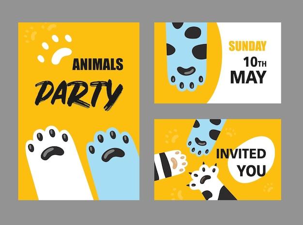 Zestaw kart zaproszenie na przyjęcie zwierząt.