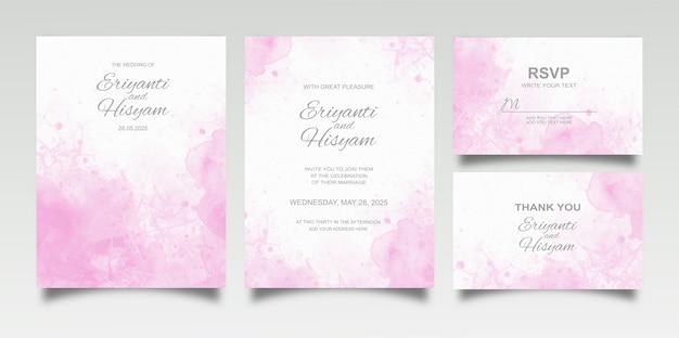 Zestaw kart zaproszenie na ślub akwarela