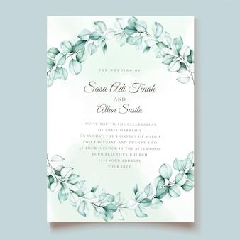 Zestaw kart zaproszenie na ślub eukaliptusa