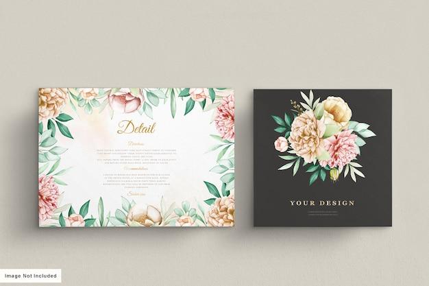 Zestaw kart zaproszenie na ślub piwonie
