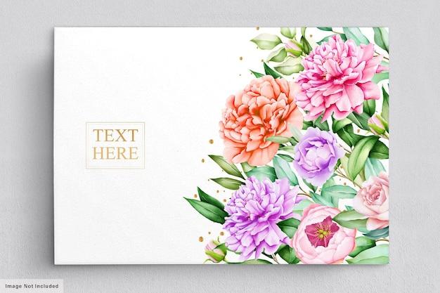 Zestaw kart zaproszenie romantyczne piwonie akwarela