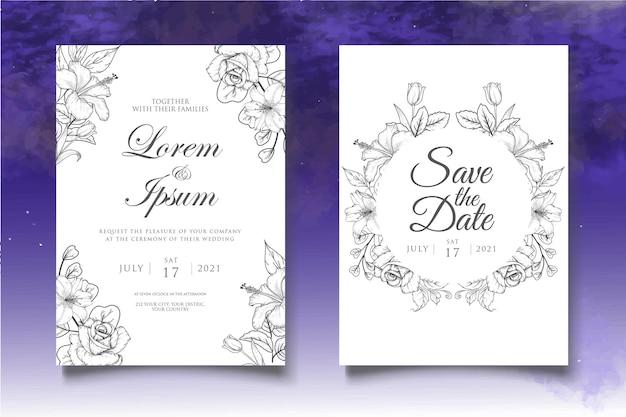 Zestaw kart zaproszenie ślubne piękne kwiaty